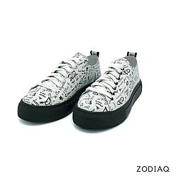 Кеды женские кожаные светлые весна - t2164-буквы ZodiaQ