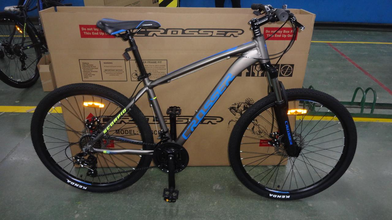 Велосипед CROSSER 29 Scorpio 17 2020 года Серый\Синий цвет