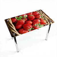 Стол обеденный на хромированных ножках Прямоугольный Strawberry