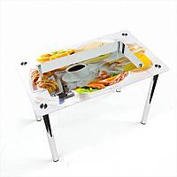 Стол обеденный на хромированных ножках Прямоугольный с полкой Nice breakfast