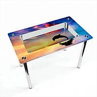 Стол обеденный на хромированных ножках Прямоугольный с полкой Ocean