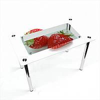 Стол обеденный на хромированных ножках Прямоугольный с полкой Red berry