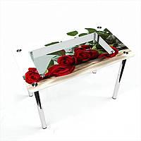Стол обеденный на хромированных ножках Прямоугольный с полкой Red Roses