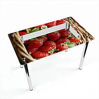 Стол обеденный на хромированных ножках Прямоугольный с полкой Strawberry