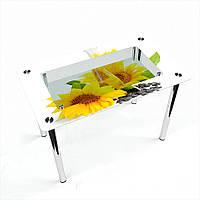 Стол обеденный на хромированных ножках Прямоугольный с полкой Sunflower