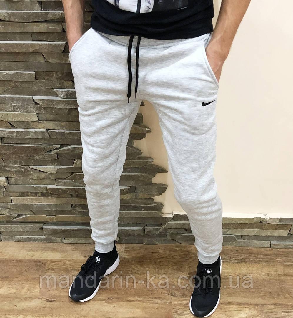 Штаны  мужские спортивные серые  теплые (реплика)