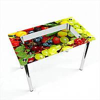 Стол обеденный на хромированных ножках Прямоугольный с полкой Wood berry