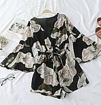 Женский шифоновый комбинезон/ромпер с цветочным принтом (в расцветках), фото 3