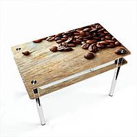 Стол обеденный на хромированных ножках Прямоугольный с проходящей полкой Coffee