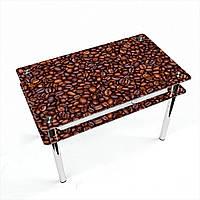 Стол обеденный на хромированных ножках Прямоугольный с проходящей полкой Coffee aroma