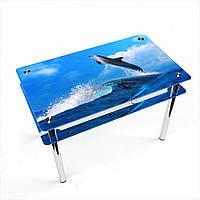 Стол обеденный на хромированных ножках Прямоугольный с проходящей полкой Dolphin