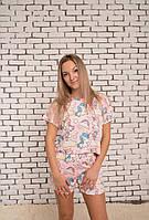 Женская пижама. Шорты и футболка.