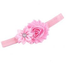 Повязочка на голову детская розовая - декор 9см, размер универсальный (на резинке)