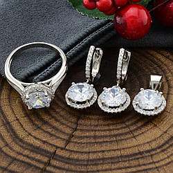 Серебряный набор ТС9510104б кольцо размер 17 + серьги 24х11 + кулон 17х11 мм вставка белые фианиты