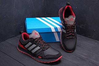 Мужские кожаные кроссовки в стиле Adidas A19 Red Star черно-красные, фото 2