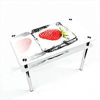 Стол обеденный на хромированных ножках Прямоугольный с проходящей полкой Ice berry