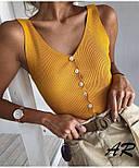 Жіноча трикотажна базова майка рубчик на гудзиках (в кольорах), фото 6