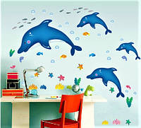 Интерьерная виниловая детская наклейка Дельфины на стену настенная в детскую комнату