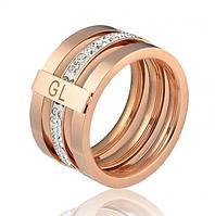 Кольцо с россыпью бриллиантов GL. Размер 19,5, 20. Медзолото, Медицинское золото, Ювелирные украшения.