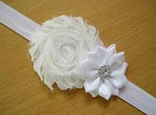 Повязочка на голову детская белая - декор 9см, размер универсальный (на резинке)