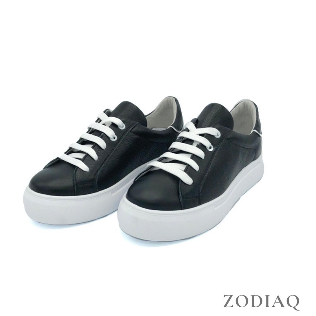 Кеды женские кожаные черные весна - t2165-2 ZodiaQ