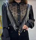 Женская белая и черная блуза с отделкой цепочки и кружево, фото 2