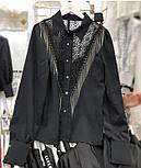 Женская белая и черная блуза с отделкой цепочки и кружево, фото 3
