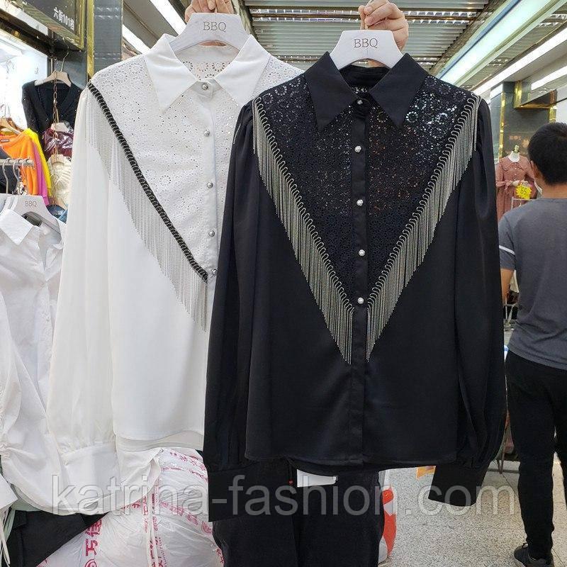 Женская белая и черная блуза с отделкой цепочки и кружево