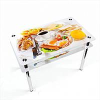 Стол обеденный на хромированных ножках Прямоугольный с проходящей полкой Nice breakfast
