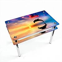 Стол обеденный на хромированных ножках Прямоугольный с проходящей полкой Ocean