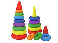 0984 Детская игрушка для малышей Пирамидка выдувная большая ТехноК пластик