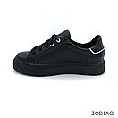 Кеды женские кожаные черные весна - t2165-2-2 ZodiaQ, фото 3