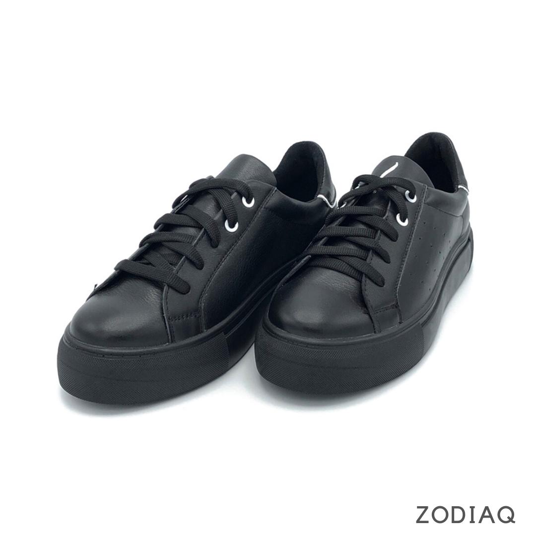 Кеды женские кожаные черные весна - t2165-2-2 ZodiaQ
