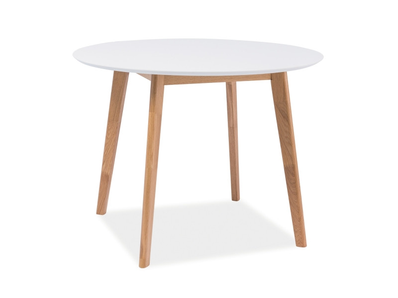 Стол круглый MOSSO II белый/дуб 100x100