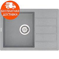 Кухонная мойка из кварцевого камня прямоугольная Vankor Easy EMP 02.62 Gray Stone серый