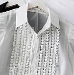 Жіноча блуза з пишними рукавами чорна та біла, фото 6