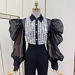 Жіноча блуза з пишними рукавами чорна та біла, фото 3