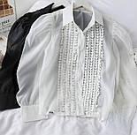 Жіноча блуза з пишними рукавами чорна та біла, фото 5