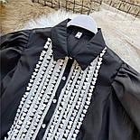 Жіноча блуза з пишними рукавами чорна та біла, фото 8
