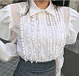Жіноча блуза з пишними рукавами чорна та біла, фото 9
