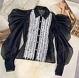 Жіноча блуза з пишними рукавами чорна та біла, фото 10