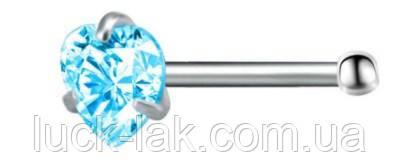 Пирсинг, серьга для носа, нострила с кристаллом, цвет- голубой