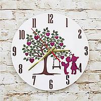 Подарунок до дня закоханих дерев'яний годинник, подарок на день святого Валентина, деревянные часы 3D