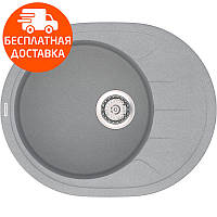 Кухонная мойка из кварцевого камня овальная Vankor Sity SMO 02.61 Gray Stone серый