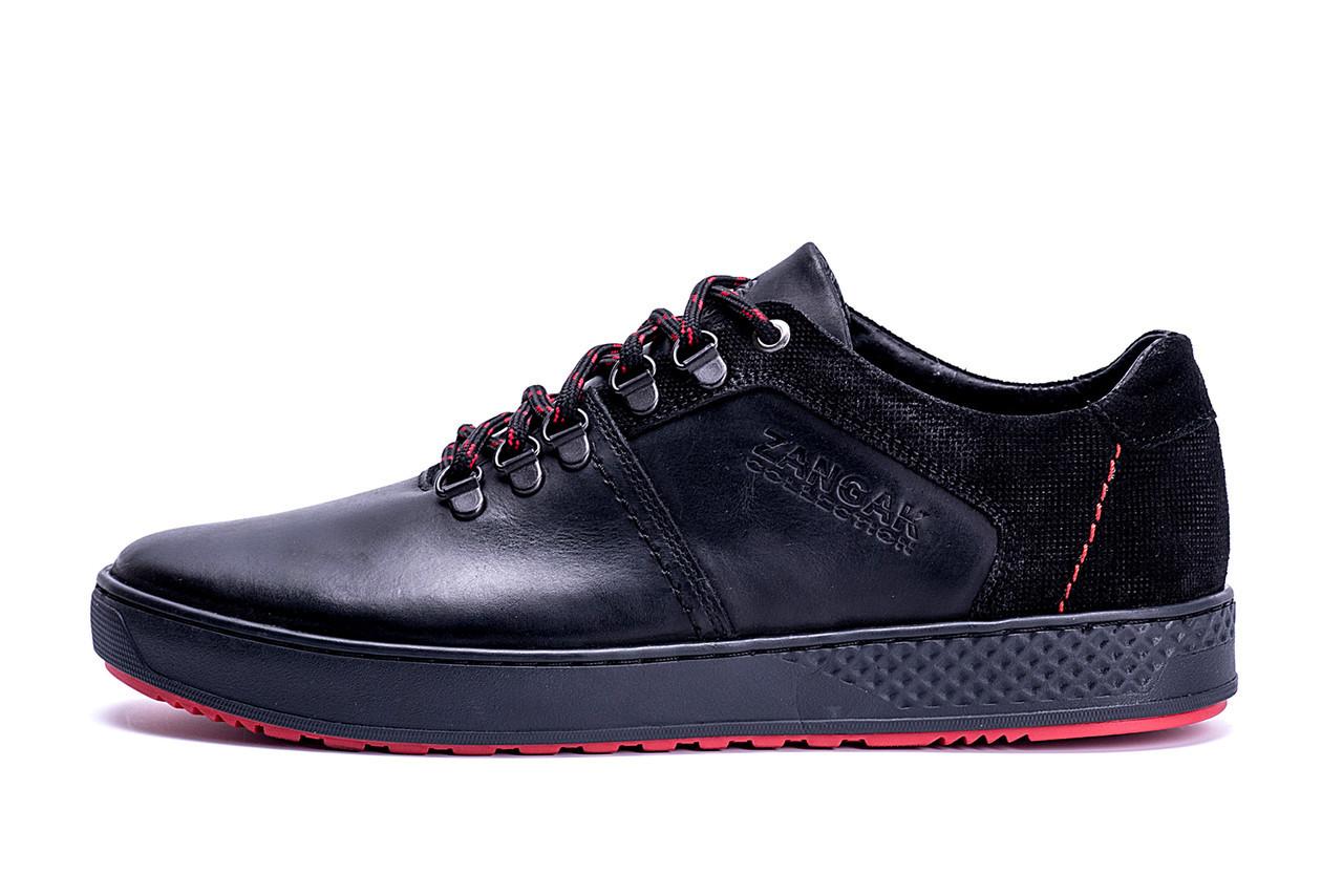Мужские кожаные кеды ZG Aircross Black and Red