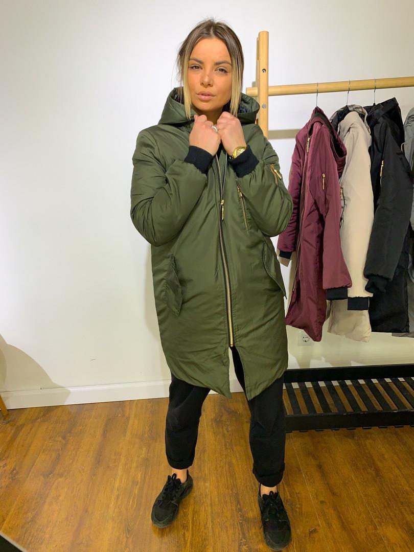 Женская удлиненная демисезонная куртка с капюшоном,цвет хаки
