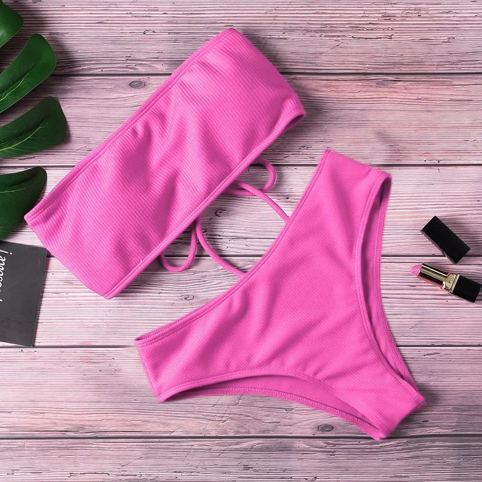 Розовый купальник бандо со шнуровкой сзади в рубчик ХS, S, M