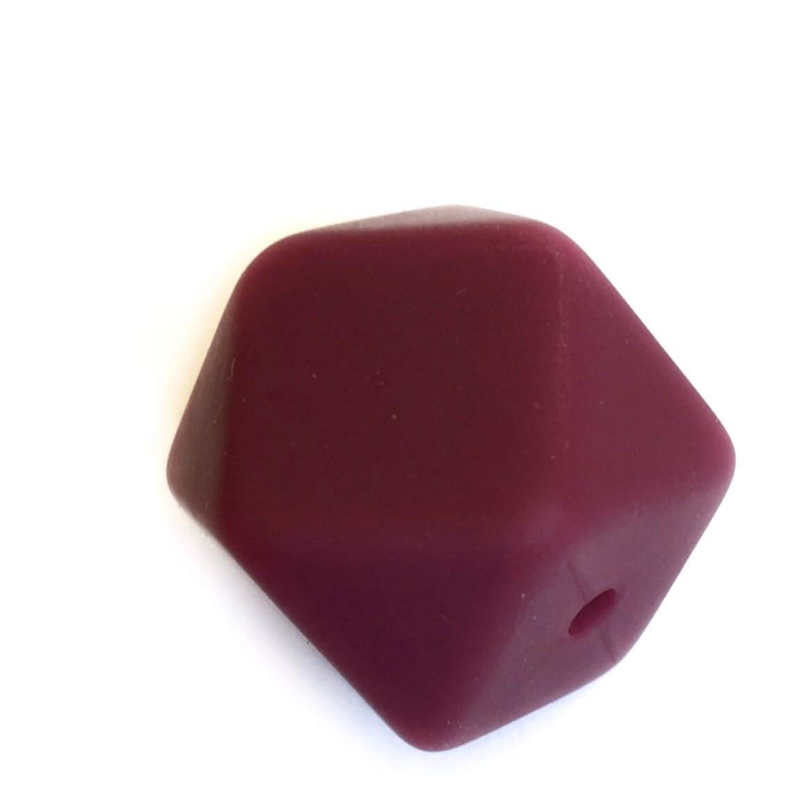 Гексагон 17мм (винный), силиконовые бусины