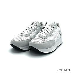 Кроссовки женские кожаные/замшевые белые весна - t8121-0-90 ZodiaQ