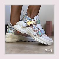 Женские кроссовки на липучках сетка, розовый, фото 1